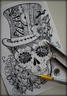 #image #yes #hat #hair #cool #my #drive #skull #tattoo #desigh #ink #style…