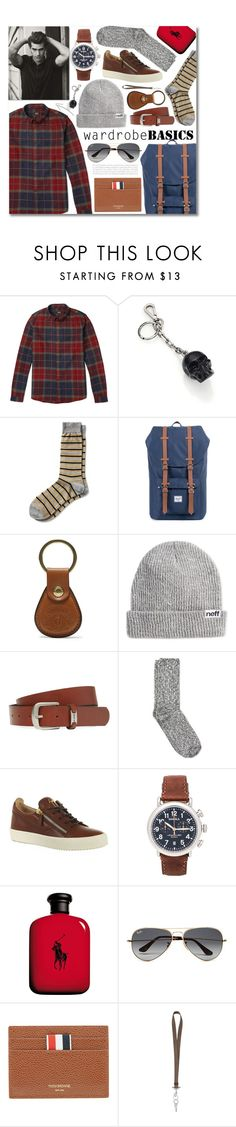 """Wardrobe Basics: Menswear"" by miee0105 ❤ liked on Polyvore featuring A.P.C., Alexander McQueen, Banana Republic, Herschel Supply Co., Ghurka, Neff, Ben Sherman, Wigwam, Giuseppe Zanotti and Shinola"
