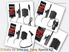 Nové držiaky do auta pre Sony Xperia XZ. Pasívny držiak Brodit pre pevnú montáž v aute, aktívny s CL nabíjačkou, s USB alebo s Molex konektorom.