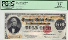 Fr. 1215 1922 $100 Gold Certificate Don't let a small tear keep this 1922 $100 gold certificate off your target list. Everything else about the note is really choice for the grade. That includes the margins, the colors, and especially the vibrant red seal!