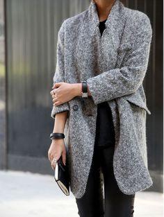 Simple neutrals | Gray herringbone wool coat