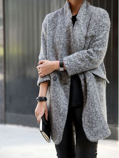 Simple neutrals | Gray herringbone wool coat