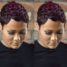 50 Stylish Short Hairstyles for Black Women Red Wine Short Black Pixie Haircut Short Sassy Hair, Cute Hairstyles For Short Hair, My Hairstyle, Short Hair Cuts, Curly Hair Styles, Natural Hair Styles, Haircut Short, Black Hairstyles, Pixie Cuts