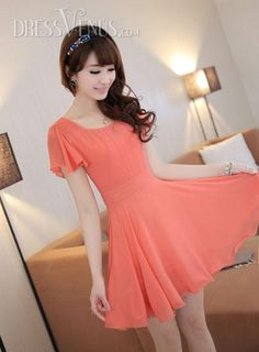 Elegant Korean Style  Gentlewomanly Slim Large Size  Short Sleeves  Dress