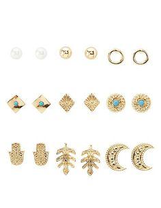 Boho Stud Earrings - 9 Pack: Charlotte Russe #earrings