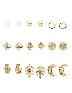 Boho Stud Earrings - 9 Pack: Charlotte Russe #earrings