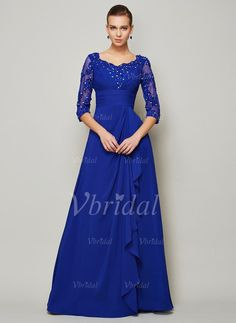 Mother of the Bride Dresses - $177.30 - A-Line/Princess Scoop Neck Floor-Length Chiffon Tulle Mother of the Bride Dress With Beading Appliques Lace (0085093522)