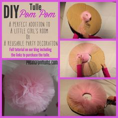 How to make your own Tulle Pom Pom – perfect for a party or kids room decoration! This method has always had the best results. What you'll need – Strong clear fishing line (we used leader) Roll of wide tulle Tulle Poms, Pom Poms, Tulle Garland, Tulle Balls, Tulle Flowers, Tulle Tutu, Frozen Bedroom, Frozen Birthday Party, Frozen Party