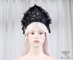 Black lace gothic couture boned crown by mysticthread.deviantart.com on @DeviantArt
