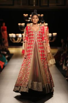 Manish Malhotra at India Couture Week 2014 - marroon lehnga with long red jacket blouse Indian Bridal Wear, Indian Wedding Outfits, Pakistani Outfits, Indian Wear, Indian Outfits, Pakistani Couture, Indian Couture, Lehenga Designs, India Fashion
