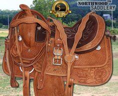 Hand Carved Western Pleasure Trail Barrel Saddle 15 16