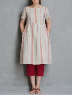 Beige-Red Dress with Elasticated Waist Crop Pants Set of 2 by Doodlage Simple Kurta Designs, Kurta Designs Women, Salwar Designs, Kurti Designs Party Wear, Dress Neck Designs, Blouse Designs, Frock Fashion, Fashion Outfits, Woman Fashion