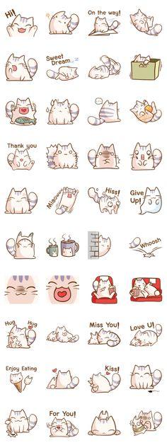 Kawaii Doodles, Cute Doodles, Emoji Stickers, Printable Stickers, Kawaii Drawings, Easy Drawings, Cat Icon, Line Sticker, Journal Stickers