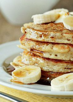 Fluffy Banana Pancakes recipe - Uber-fluffy yet moist thanks to mashed banana mixed into the batter, these pancakes make for the perfect weekend morning breakfast.