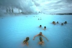 The Blue Lagoon in Iceland - a natural geothermal pool---So cool!