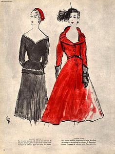 Jacques Griffe (l) and Jacques Fath (r) illustrated by Eric, 1952