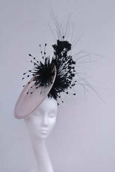 Dramatic Nude pink and black fascinator, hatinator disc. Percect for Mother of the Bride, Weddings and special occassions by JayneAlisonMillinery on Etsy