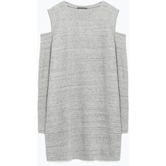 Zara Cut-Out Shoulder Dress ($26) ❤ liked on Polyvore featuring dresses, grey marl, gray dress, cutout shoulder dress, cold shoulder dress, grey dress and zara dresses