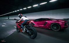 Metallic Pink Lamborghini Aventador And Chrome Red Ducati