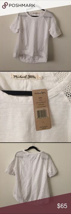 NWT Michael Stars White Mesh Shirt Size Large NWT Michael Stars White Mesh Shirt Size Large Michael Stars Tops Tees - Short Sleeve
