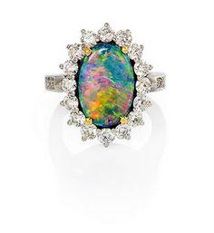 Black opal set in diamonds by Tiffany & Co.