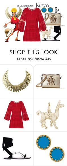 """Kuzco"" by leslieakay ❤ liked on Polyvore featuring Rebecca Minkoff, Rembrandt Charms, Valentino, House of Harlow 1960, People Tree, disney, disneybound and disneycharacter"