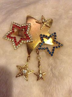 Vintage Gold Red Blue And Diamond Stars Pin #1235
