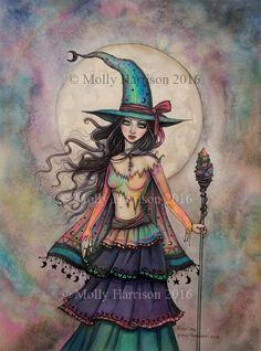Fire Opal - Witch Print - Fine Art Giclee 9 x 12 - Molly Harrison Fantasy Art…