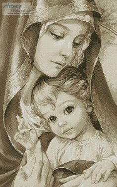of God (Sepia) Mother of God Sepia - cross stitch pattern designed by Tereena Clarke.Mother of God Sepia - cross stitch pattern designed by Tereena Clarke. Religious Pictures, Jesus Pictures, Blessed Mother Mary, Blessed Virgin Mary, Mother Of Christ, Catholic Art, Religious Art, La Salette, Religion Catolica