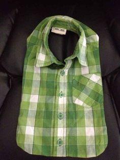 A collared shirt adapts into a stylish baby bib.