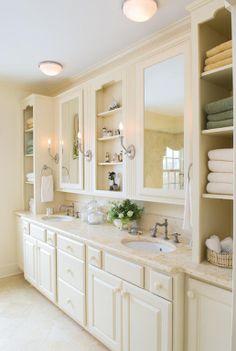 the closet/shelf combination, good storage Bathroom Mirror Cabinet, Mirror Cabinets, Master Bath Remodel, Master Bathroom, New Bathroom Ideas, Bathroom Designs, Mirror With Shelf, Closet Shelves, Home Goods