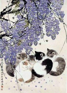 Black /& White Pet Cat Under Japanese Plum Tree Animal Art Real Canvas Print