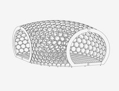 Chun Qing Li of Pavilion Architecture designed KREOD, an architectural sculpture, organic in form, environmentally-friendly and inspired by nature. Resembling three seeds, these three 20m2 pods combine through a series of interlocking hexagons to create an enclosed structure.  Designed with parametric design tools and built with digital fabrication.  London.