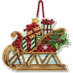 Sleigh Ornament Counted Cross Stitch Kit  #christmas #crossstitch #ornament #sleigh