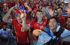Fans of Chile gather at the FIFA Fan fest in Copacabana beach in Rio de Janeiro, Brazil on June 18, 2014 to attend the 2014 FIFA World Cup Spain vs Chile