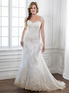 "This timeless romantic Maggie Sottero gown ""EMMA"" is part of our plus size collection.  We love this simple a-line gown.  available at The Perfect Dress of Sarasota.  Call us at 941.925.5888 to schedule your appointment with our bridal experts."