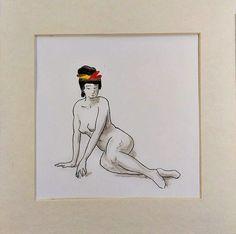 Calligraphy ink art. Geisha with red yellow ribbon. Nude Asian original drawing #Asian