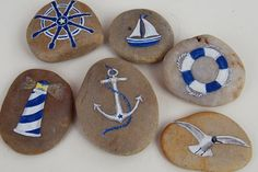 Painted Rocks Idea- Set about the Sea: Wheel, Sailboat, Buoy, Lighthouse, Anchor, and Seagull.