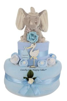 Two Tier baby boy Dumbo elephant nappy cake with keepsake gift stork special delivery www.CoochyCooNappyCakes.co.uk