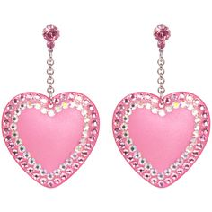 Pave' Heart Drop Earrings ($130) ❤ liked on Polyvore featuring jewelry, earrings, pink, pave earrings, swarovski crystal earrings, pink earrings, chain earrings and heart jewelry
