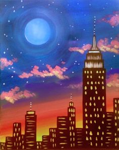 Join us for a Paint Nite event Sat Apr 2018 at 414 Main Ave Clifton, NJ. Purchase your tickets online to reserve a fun night out! New York Painting, City Painting, Moon Painting, Light Painting, Canvas Frame, Canvas Art, Skyline Painting, Silhouette Painting, Simple Acrylic Paintings
