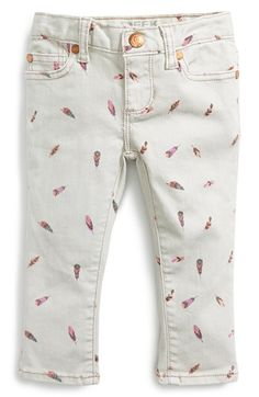 Peek 'Maya' Feather Print Skinny Jeans (Baby Girls) available at #Nordstrom