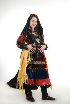 "Albanian folk costumes (veshje popullore shqiptare). Woman's bell-shaped dress ""xhubleta"" from northern Albania (Malesia e Madhe). Collection of Luljeta Dano."