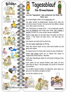 Daily routines for adults* elementary * with key - English ESL Worksheets German Grammar, German Words, Deutsch A2, German Resources, Deutsch Language, Languages Online, German Language Learning, Vocabulary Worksheets, School Subjects
