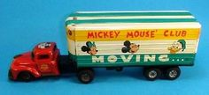 icollect247.com Online Vintage Antiques and Collectables - Mickey Mouse Club Moving Van Linemar 1950s Toy Antique Toys, Vintage Toys, Vintage Antiques, 1950s Toys, Annette Funicello, Modern Toys, Mickey Mouse Club, Selling Antiques, Diecast Model Cars