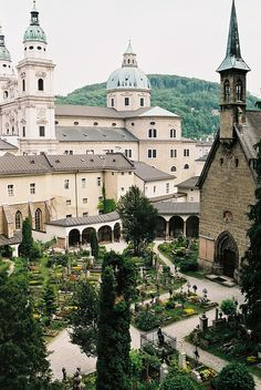 The St Peter's Cemetery in Salzburg, Austria.  #austria #salzburg #cementery #city #view #cathedral #calm #atmosphere