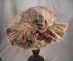 Victorian Antique Lace Hat with Antique Mauve Accents