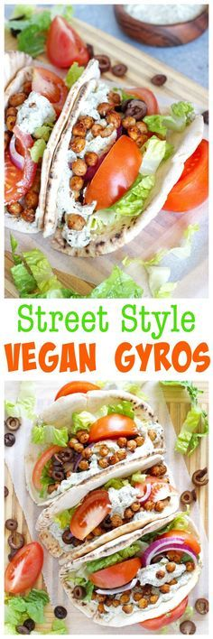 Street Style Vegan Gyros - These delectably delicious gyros are an easy win for the big game. Get messy and dig in! #vegan #healthy #superbowl