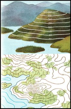 Ladybird series 671 - Understanding Maps - Re-Wilding Earth And Space Science, Earth From Space, 8th Grade Science, Middle School Science, Teaching Geography, Teaching Science, Topography Map, Contour Line, Map Skills