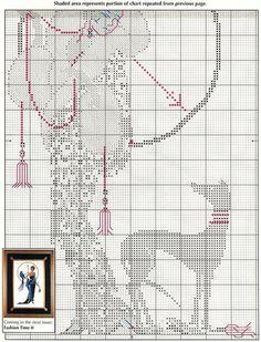 0 point de croix femme années 1930 et lévrier - cross stitch lady in the 1930s and greyhound 2